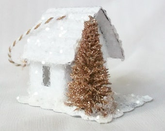 As Seen in Country Woman Vintage Putz Style Tiny Magical Miniature White Glitter Sugar House for your Winter Fairy Garden Christmas Village
