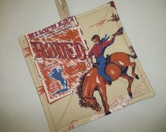 Vintage Cowboy Pot Holder, Retro Wild West Rodeo