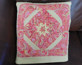 Quillow, Lap Quilt, Pillow - Paisley Folded Star Quillow