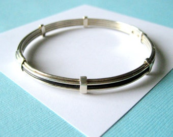 Sterling Silver and Onyx Inlay Bangle