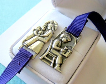 James Avery Retired Sterling Silver and Purple Ribbon Bookmark