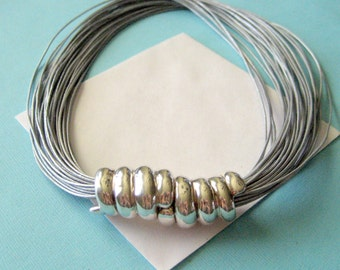Multi-Strand Leather and Wax Cast Sterling Silver Choker Necklace