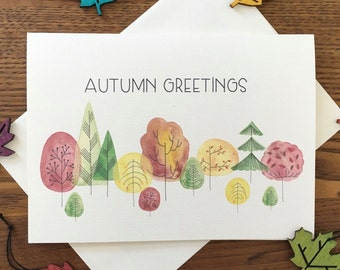 Fall greeting card Autumn greetings  Fall foliage Watercolor illustration Cute little trees Happy fall Sweet and simple card Just because