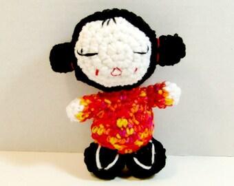 Geisha Girl Doll. Plush Geisha Girl Doll.  Plush Amigurumi Doll. Kawaii Geisha Girl Doll.  Mini Japanese Geisha Girl Doll. Ready-to-Ship