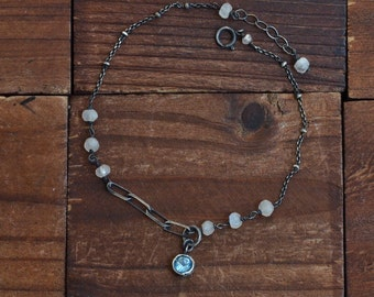 Oxidized Sterling Silver Topaz Bracelet - Bezel Bracelet - Moonstone Bracelet - Dainty Chain Bracelet - Solitaire Stone Bracelet