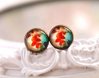 Fall autumn leaf earrings studs  sweet lolita feminine