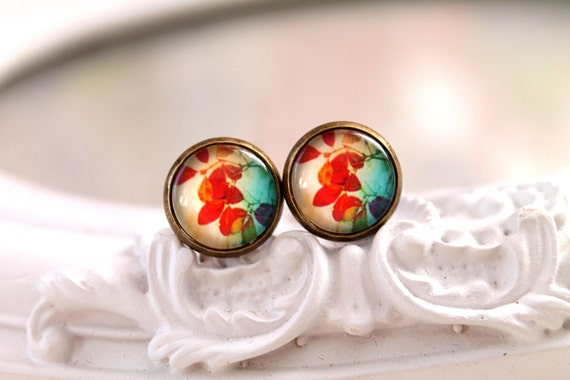Fall autumn leaf earrings studs  sweet lolita feminine