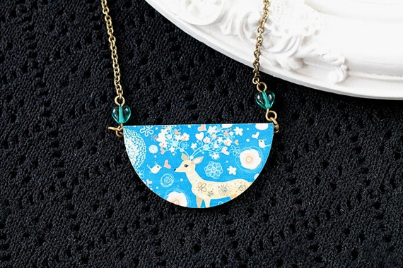 Deer birds and flowers wooden necklace half circle bib kawaii sweet lolita woodland