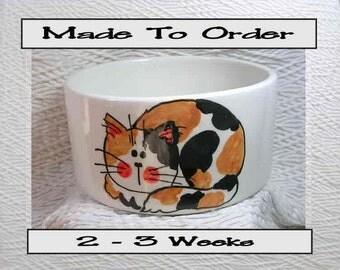 Calico Cat Medium Pet Bowl Handmade by GMS Paw Prints Inside 20 Oz. Ceramic