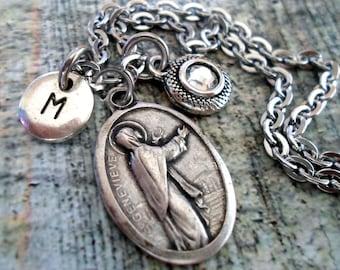 St. Genevieve Birthstone Necklace, Italian Charm, Confirmation, Patron Saint,  Custom Monogram Initial, Swarovski Crystal, Catholic Jewelry