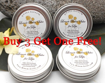 Lemon Balm, Buy 3 Get 1 Free, Stock Up Deal, 1/2 oz Tins, Lip Balm, Dry Lips, Cracked Lips, Dry Skin, Skin Problems, Herbal Salve, Ointment
