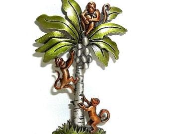 JJ Monkey Palm Tree pin Jonette brooch nos pewter enamel