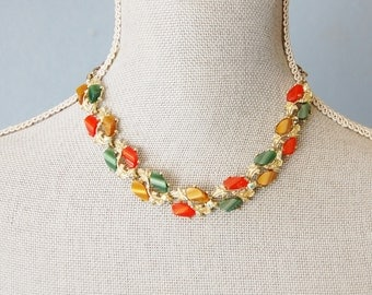 Vintage 1950s Thermoset Necklace Orange, Brown and Green Plastic 1960s Choker