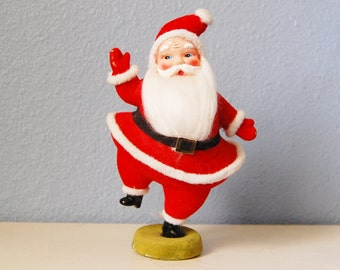 Vintage Dancing Santa Figure Waving Flocked Xmas Japan Christmas Kitsch Display