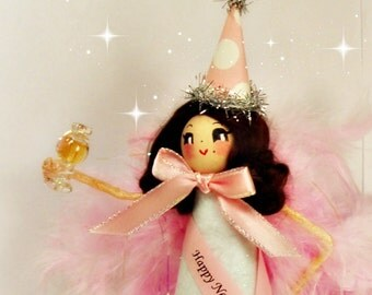 Happy New Year doll Happy New Year centerpiece tree topper pink and white brunette doll toni Kelly original new years eve party decor cheers