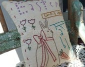 Decorative Spring Pillow, Easter, Rabbit, Tulips, Carrot, Olde Easter, Hand Stitched