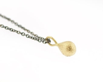 Shimmer Drop 18 Karat Gold Pendant on Sterling Silver Chain Recycled Metal