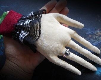 Doll Hand, art doll hand, holidays decoration decor geek goth gothic victorian fabric art doll hand lace cuff soft sculpture spooky creepy