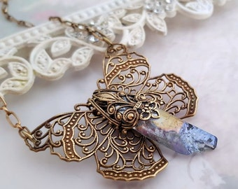 Raw Quartz Butterfly necklace, butterfly statement necklace, Bohemian butterfly pendant necklace, ab blue titanium quartz crystal neckalce