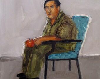 Abstract Art Figure Figurative Portrait Giclee Print Colette Davis - APPLE A DAY