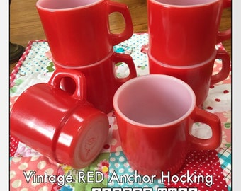 Vintage RED Anchor Hocking Stacking Mugs - Set of 6