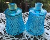 Reserve for Melanie 2 Vintage 1970s Blue Diamond Point Home Interior Votive Cups Candleholders