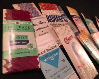 Lot of 16 Vintage New Packages of Rick Rack Trim, Piping Trim and Seam Binding