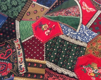 6 1/2 Yards of Vintage Cranston Print Work Patchwork/Paisley/Floral/Reds and Greens Cotton Fabric