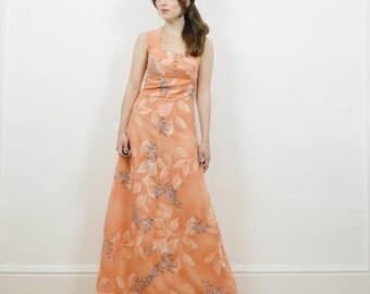 70s boho maxi dress, floral maxi dress, empire waistline, peach dress,hippie dress, boho floral dress, hippie maxi dress, 70s hippie dress