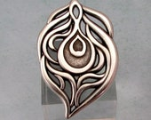 Peacock Feather Pendant, Antique Silver, AS416