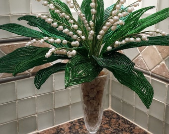 French Beaded Flower Lily of the Valley Arrangement (FREE SHIPPING)