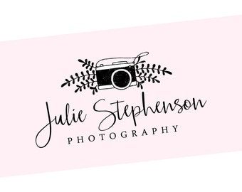Photographer Stamp - Cute Camera Stamp with Leaves - Self Inking or Wood Handle Mount - Business Branding (127)