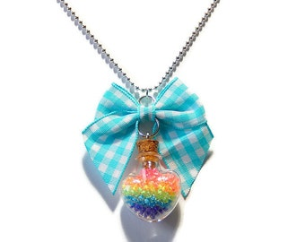 Rainbow Bottle Necklace, Neon Heart, Plaid Bow, Whimsical Kawaii Jewelry