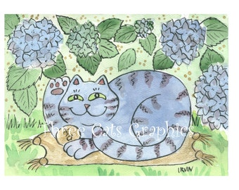 A Rare Sighting of the Hydrangea Neko - Choose from ACEO Print, Note Cards, or Art Print