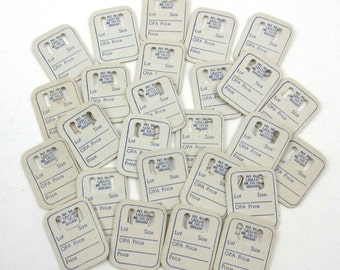 Vintage Miniature Store Cardboard Price Tags Blue and Ivory Set of 26