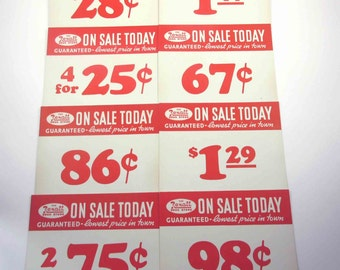 Vintage Large Rexall Drug Store Pricing Tags in Red Set of 8 Lot A