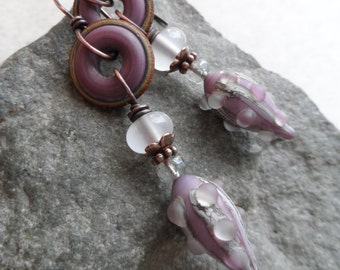 Pretty Purple Pods ... Artisan-Made Lampwork and Copper Wire-Wrapped Rustic, Boho, Beachy, Gypsy, Hippie, Earrings