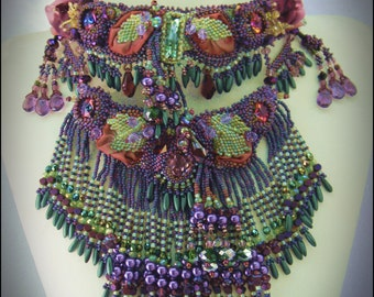 Fae's Garden Bead Embroidered and Fringed Necklace - Purple and Lime Green - Statement Necklace by Hannah Rosner