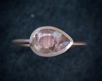 Oregon Sunstone Ring, Pear Shaped Solitaire Ring, 14k Rose Gold Alternative Engagement , Recycled Eco Friendly Right Hand Ring
