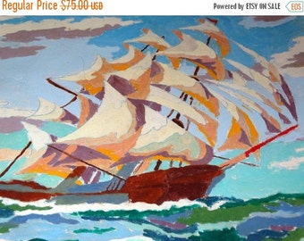 Valentines Day Sale 1953 Paint by Number, Clipper ship on Canvas, Pann Products, Tiffan Ohio, Beautiful Mid-Century Modern Artwork, Nautical