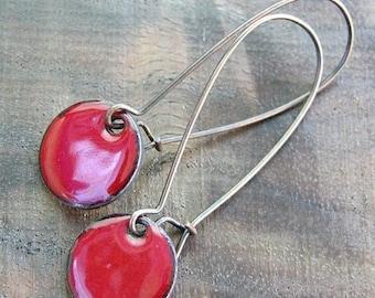 SALE Red Dangle Earrings, Copper Enamel Jewelry, Nickel Free Kidney Earwires, Perfect red, Holiday RedHandmade Earrings