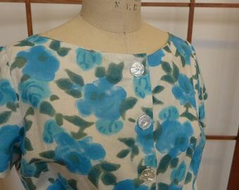 Vintage 50s Blue Floral Blouse - Large