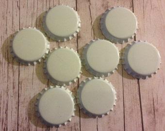 Set of 50- White Bottle Caps- Regular No Liner- Great for fridge magnets, pendants, zipper pulls, hair bows, embellishments, etc