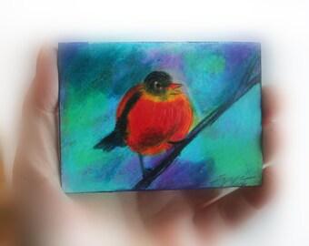 Saying goodbye, Original aceo, #aceo original, #art, #bird art, #miniature art #natureart  #bird miniature #little gifts