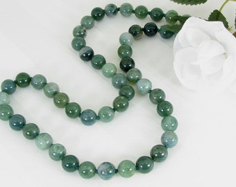Bold Handknotted Moss Agate and Sterling Silver Necklace
