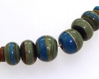 Handmade Lampwork Glass Beads - 6 bead set (3 pairs). Denim blue, olive green, silvered ivory.