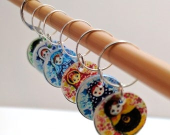 Fancy Matryoshka, Russian Nesting Dolls - Set of 6 Stitchmarkers for Knitters or Crocheters