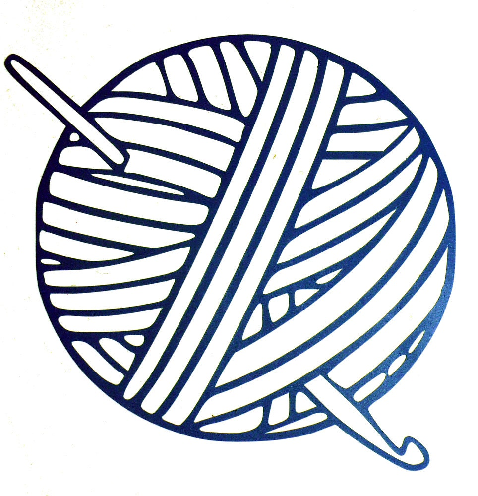 Vinyl Decal Yarn Ball With CROCHET HOOK