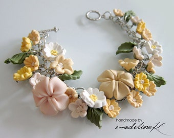 Yellow Flower Garden Bracelet, Handmade Polymer Clay Flower Bracelet, Yellow Jewelry, Yellow Wedding Bracelet, Yellow Bridesmaid Bracelet
