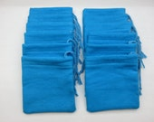 Set of 12, Blue Flannel Cotton Hoo Doo,  Mojo Bags, Jewelry Pouches, Handmade